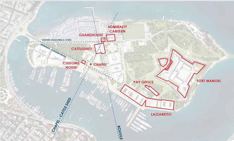 Historic landmarks on Manoel Island